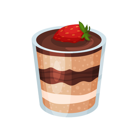 Layered chocolate dessert, panna cotta or vanilla pudding in glass cartoon vector Illustration