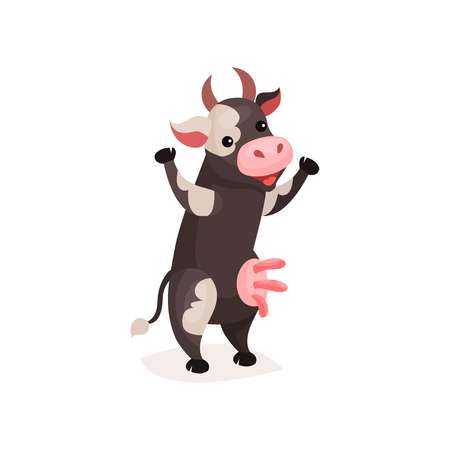 Funny spotted cow, milk cow standing on two legs cartoon vector Illustration