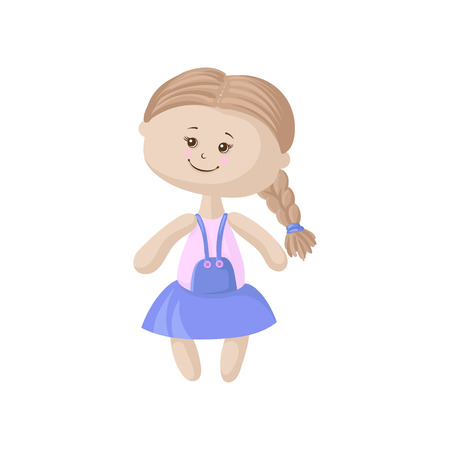 Cute soft doll in a blue dress Illustration