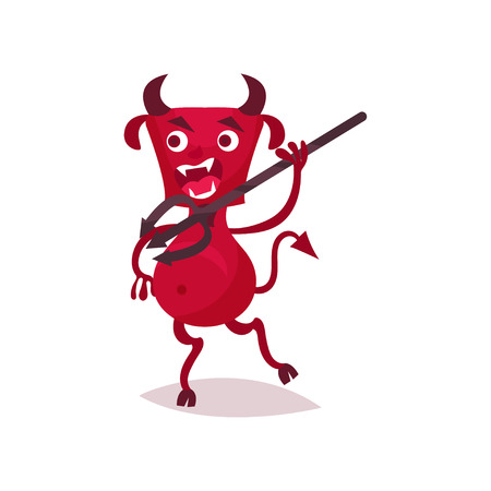 Furious funny devil with horns and tail running with trident, red demon cartoon character vector Illustration on a white background