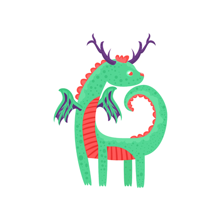Cute horned baby dragon character, mythical animal, fantasy reptile vector Illustration on a white background Illustration