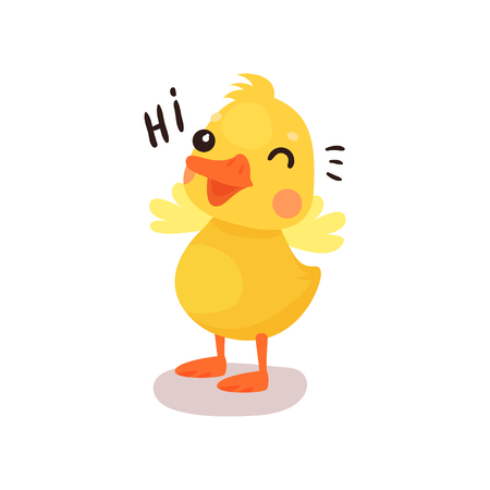 Cute funny little yellow duck chick character saying Hi, in cartoon vector Illustration on a white background. 向量圖像