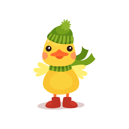 Cute little yellow duck chick character in green knitted hat and scarf cartoon vector Illustration on a white background