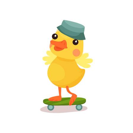 Cute little yellow duck chick character in grey hat riding on skateboard cartoon vector Illustration on a white background 向量圖像