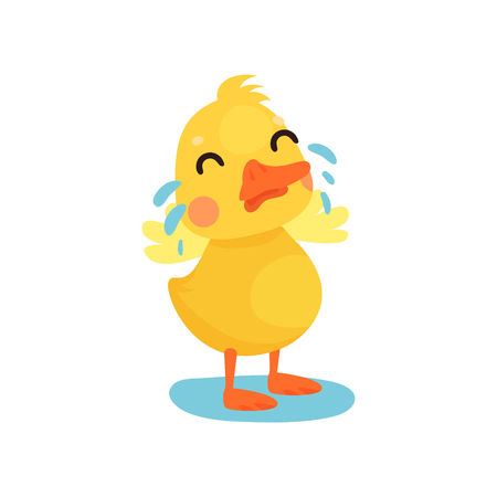 Cute little yellow duck chick character crying cartoon vector Illustration on a white background Ilustração