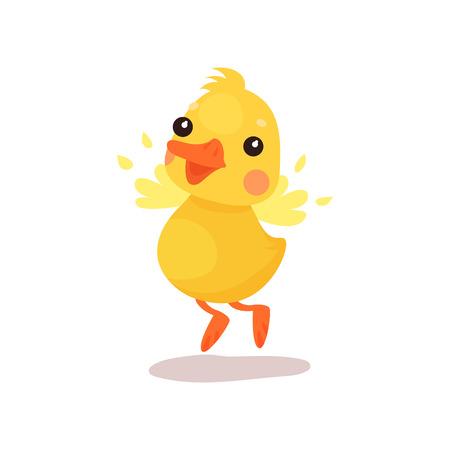Netter kleiner gelber Entenkükencharakter, der versucht, Karikaturvektor Illustration auf einem weißen Hintergrund zu fliegen Standard-Bild - 93137853