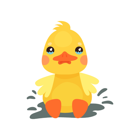 Cute little yellow duck chick character playing in a mud puddle cartoon vector Illustration 向量圖像