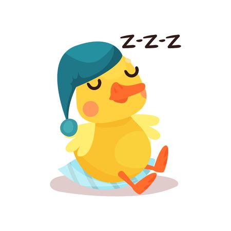 Netter kleiner gelber Entenkükencharakter in einer blauen Hutschlafenkarikatur-Vektor Illustration auf einem weißen Hintergrund Standard-Bild - 93137855