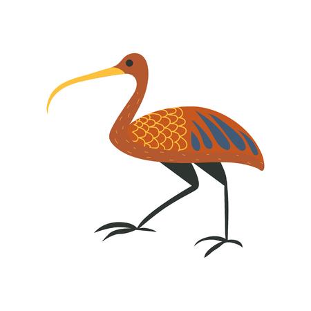 Ibis bird, symbol of traditional Egyptian culture cartoon vector Illustration Illustration