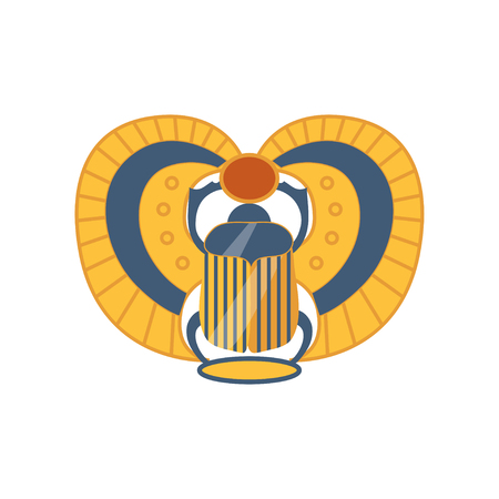 Scarab Egyptian sacred bug, symbol of the sun cartoon vector Illustration on a white background