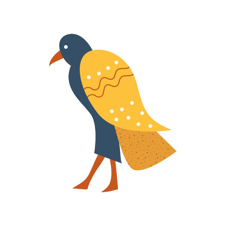 Falcon, blue bird with golden wings symbol of traditional Egyptian culture cartoon vector Illustration on a white background