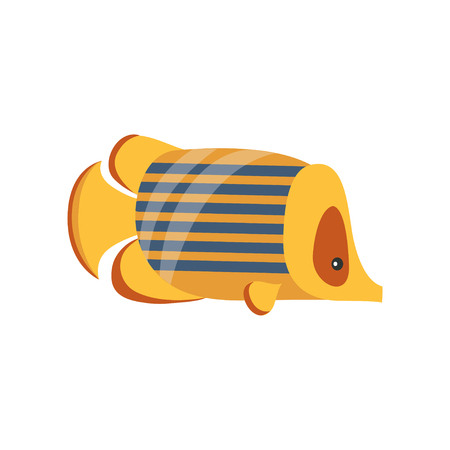 Ancient golden fish, symbol of traditional Egyptian culture cartoon vector Illustration on a white background. Illustration