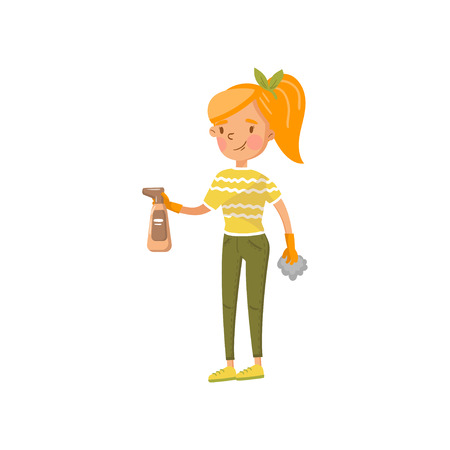 Young woman in casual clothing wiping off dust with a spray and a rag, housewife in housework activity cartoon vector Illustration on a white background Illustration