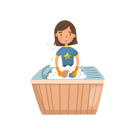 Young brunette woman in casual clothing washing dishes in the kitchen, housewife in housework activity cartoon vector Illustration Vettoriali