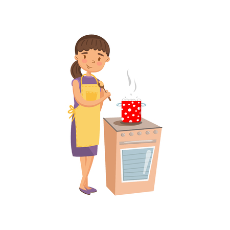 Young woman in casual clothing and apron cooking in the kitchen, housewife in housework activity cartoon vector Illustration on a white background Illustration