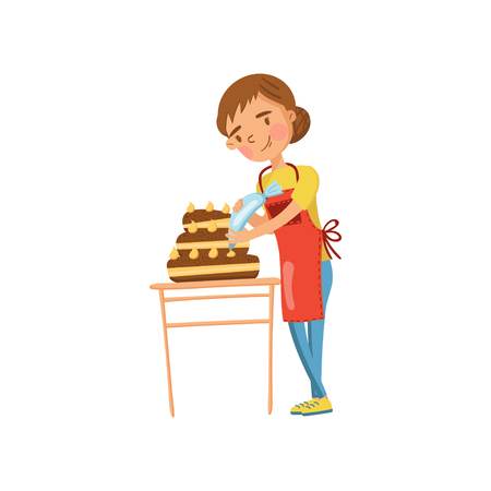 Young woman in casual clothing and apron making a cake, housewife in housework activity cartoon vector Illustration on a white background