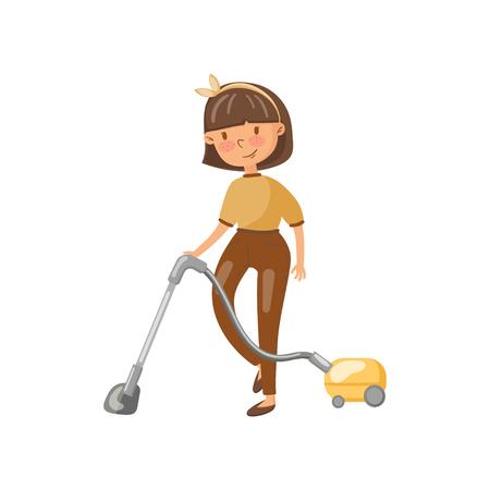 Jonge vrouw in vrijetijdskleding die de vloer met stofzuiger, huisvrouw in het beeldverhaal vectorillustratie van de huishoudelijk werkactiviteit schoonmaken Stock Illustratie
