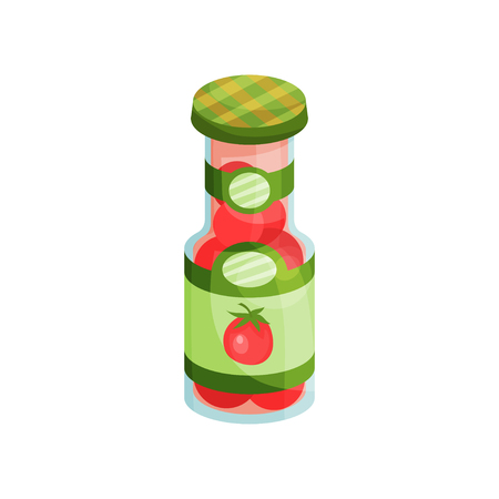 Glass jar with pickled tomatoes, canned vegetables cartoon vector Illustration