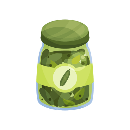 Glass jar with pickled cucumbers, canned vegetables cartoon vector illustration.