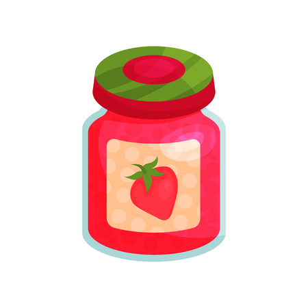 Strawberry jam in glass jar with lid, homemade fruit jam jar cartoon vector illustration.
