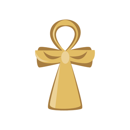Ankh cross, religious sign of the ancient Egypt, symbol of life, cartoon vector Illustration on a white background