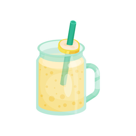 Banana smoothie in a glass jar with straw cartoon vector Illustration on a white background