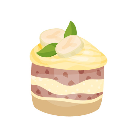 Delicious dessert with banana and caramel, banoffee pie cartoon vector Illustration on a white background