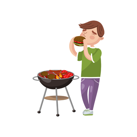 Young man cooking and eating barbecue cartoon vector Illustration on a white background Stock Illustratie
