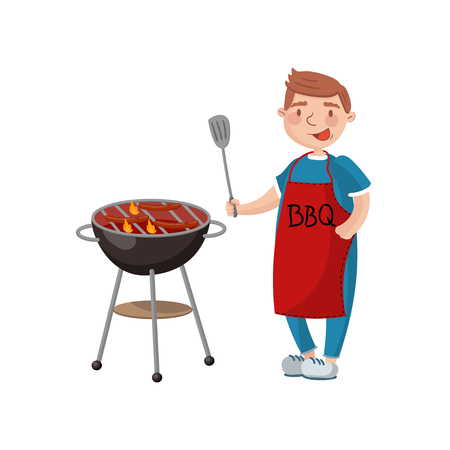 Young man cooking meat on the barbecue grill cartoon vector Illustration on a white background