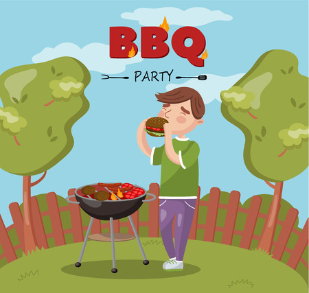 Young man cooking and eating barbecue on the backyard, BBQ party vector Illustration with flaming grill, colorful design element for poster or banner