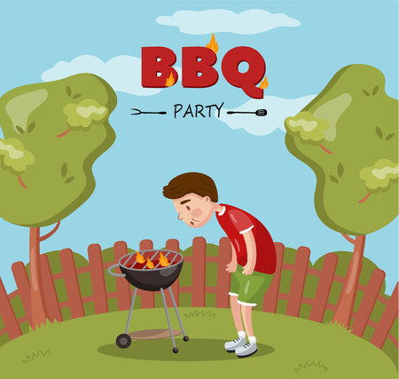 Young man cooking barbecue on the backyard, BBQ party cartoon vector Illustration with flaming grill, colorful design element for poster or banner
