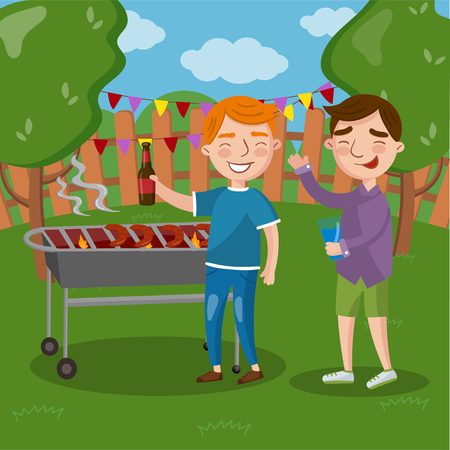 Happy friends having outdoor barbecue, men cooking meat, talking and drinking beer together vector Illustration, cartoon style