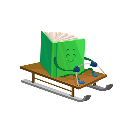 Funny humanized green book character riding on a sled. Cartoon vector Illustration on a white background