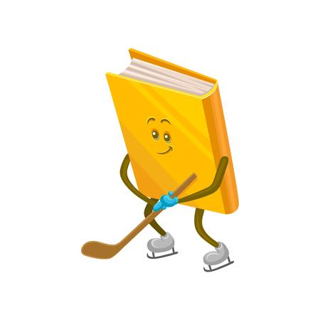 Carácter de libro humanizado divertido jugando hockey sobre hielo. Ilustración de vector de dibujos animados sobre un fondo blanco