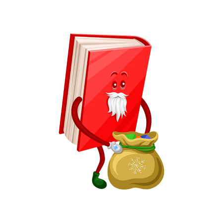 Funny humanized Santa Claus book character with bag of gifts. Cartoon vector Illustration on a white background.