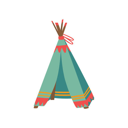 Tepee tent for childrens games, hut for kid. Cartoon vector Illustration on a white background