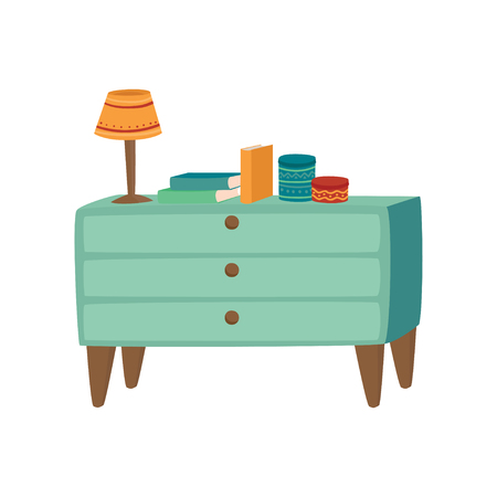 Light blue wooden chest of drawers with lamp and books. Cartoon vector Illustration on a white background Illustration
