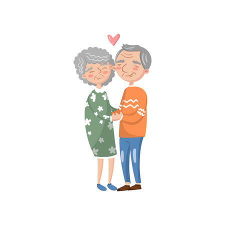 Happy senior couple in love cartoon vector Illustration