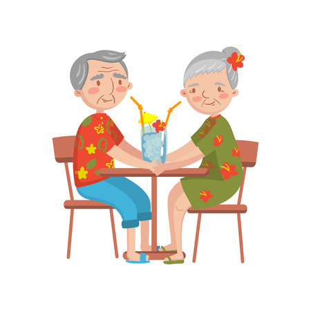 Happy senior couple sitting in a cafe and enjoying summer rest cartoon vector Illustration