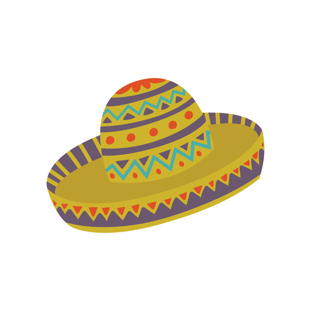 Sombrero hat with Mexican ornament cartoon vector Illustration