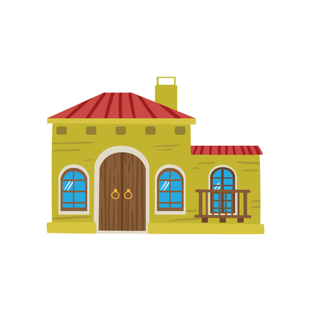 Mexican house facade cartoon vector Illustration
