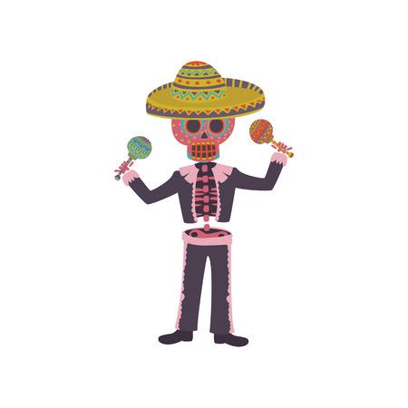 Skeleton in the Mexican national costume playing maraca, Dia de Muertos cartoon vector Illustration