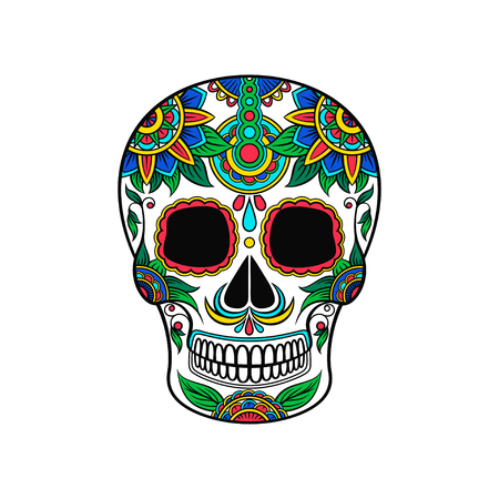 Mexican sugar skull with colorful floral pattern, Day of the death vector Illustration