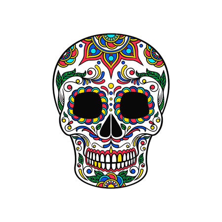 Mexican sugar skull with colorful floral ornament, Dia de Muertos vector Illustration Ilustração