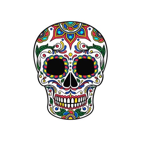 Mexican sugar skull with colorful floral ornament, Dia de Muertos vector Illustration Illustration