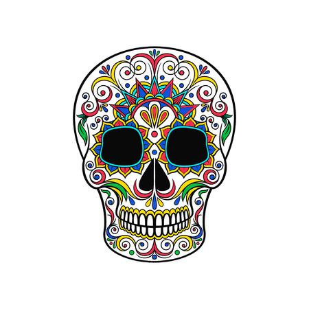 Dag van de dode schedel, suiker schedel met bloemen sieraad vector illustratie