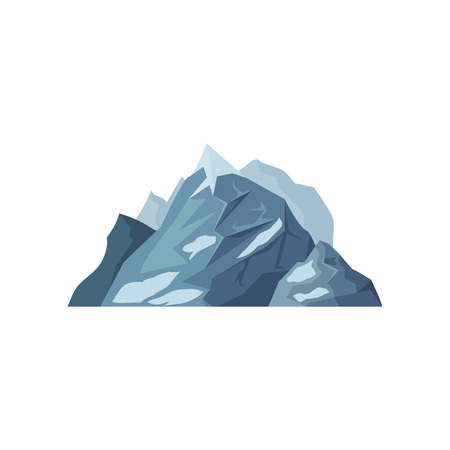 Mountains with glaciers, outdoor design element, nature landscape, mountainous geology vector Illustration on a white background