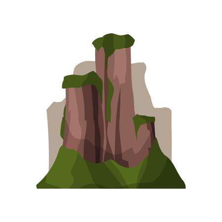 High rock mountains in summer season, outdoor design element, nature landscape, mountainous geology vector Illustration Illustration