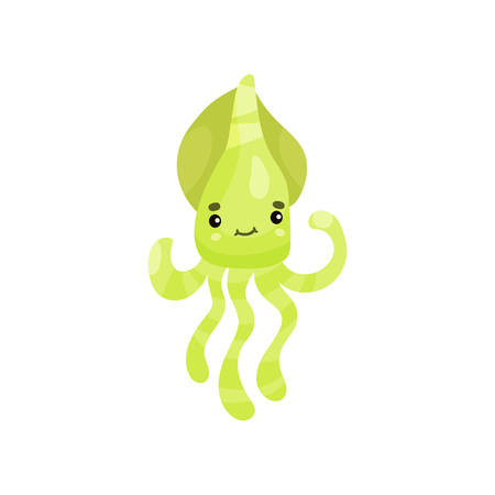 Cute smiling octopus cartoon character, funny underwater animal vector Illustration
