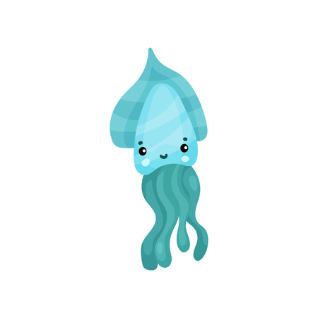 Cute turquoise octopus cartoon character, funny underwater animal vector Illustration on a white background Illustration